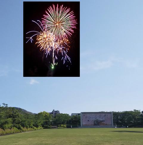 芝生広場の花火予想図